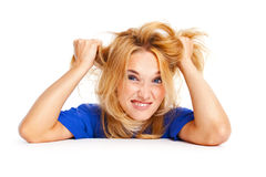 Stress. Frustrated angry woman pulling her hair Stock Photo