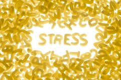 Stress. Word STRESS made of pasta letters, white background Royalty Free Stock Photo