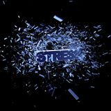 Stress. Exploding word stress on black background - 3d illustration Royalty Free Stock Photos