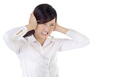 Stress. Business woman under stress on white background Royalty Free Stock Image