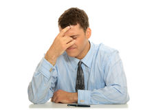 Stress. Business man stress or depression isolated on white background Royalty Free Stock Photo