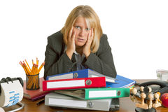 Stress. A woman looks tired, stress in office Stock Images