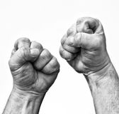 Stress. Two clenched fists showing stress and rage Royalty Free Stock Images