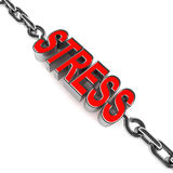 Stress. Mental stress and fatigue represented with the text stress being pulled by steel chain on both ends, showing the pain and mental condition of a stressed Stock Images