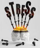 Stress. Screw the screws into the brain symbolizing stress Royalty Free Stock Images