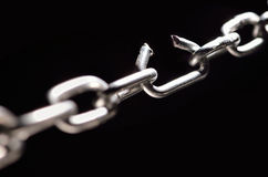 Stress. Iron Chain with one link about to break Stock Image