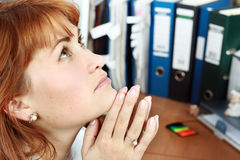 Stress. A woman looks tired, stress in office Royalty Free Stock Photos