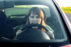 Stress. Girl in a car Stock Photo