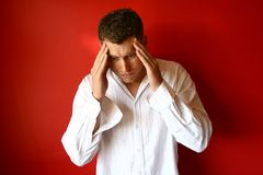 Stress. Man deep in thought or stressed Royalty Free Stock Images
