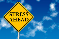 Stress Ahead traffic sign. On a sky background royalty free illustration