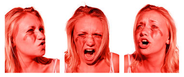 Stress, Anger And Sadness. Emotionally Charged Woman Showing All The Signs Of An Emotional Breakdown In A Triptych Of Stress, Anger And Sadness Royalty Free Stock Photo