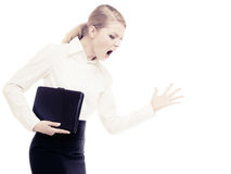Stress. Angry businesswoman teacher woman screaming. Angry businesswoman boss shouting. Mad furious teacher woman screaming isolated on white. Stress in work stock photos