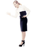 Stress. Angry businesswoman teacher woman screaming. Full length of angry businesswoman boss shouting. Mad furious teacher woman screaming isolated on white royalty free stock photography