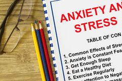 Stress and anxiety seminar. With subjects on a cover sheet of a lecture Royalty Free Stock Images