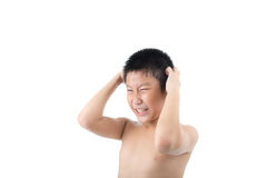 Stress Asian boy scratching his hair with sweat Stock Photos