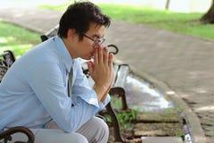 Stress. Asian man stress, close up Stock Photo
