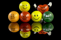 Stress balls with many different personality Royalty Free Stock Photos