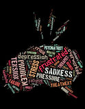 Stress brain, word cloud concept 4. Stress brain, word cloud concept on black background Royalty Free Stock Images