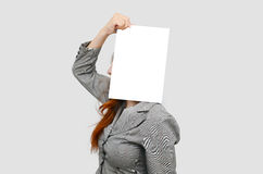 Stress business woman with white blank board Royalty Free Stock Photos