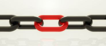 Stress in chain concept. Weakness in chain showing danger point royalty free illustration