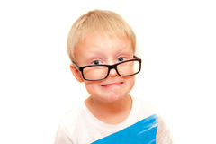 Stress child. Little  boy in big glasses have stress, isolated on white Stock Image