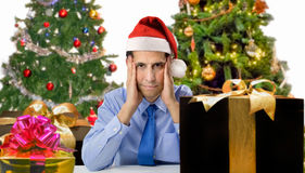 Stress by christmas gifts Stock Image
