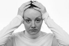 Stress. Close up portrait of a sad woman Royalty Free Stock Photography