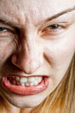 Stress concept - closeup on angry displeased woman Royalty Free Stock Photography