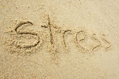 Stress written on sand royalty free stock images