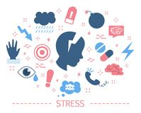 Stress concept. Depression and fear, emotional frustration. Mental disorder and pressure. Trouble in life. Set of colorful icons. Isolated flat vector royalty free illustration