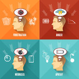 Stress concept 4 flat icons square stock illustration