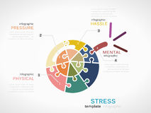 Stress. Concept infographic template with bomb made out of puzzle pieces Royalty Free Stock Images