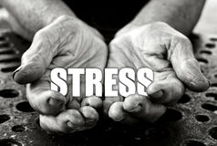 Stress concept. In the old female hands Stock Photography