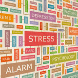 STRESS. Concept related words in tag cloud. Conceptual info-text graphic. Word collage Royalty Free Stock Image