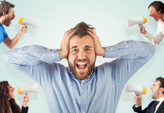 Stress concept with screaming colleagues. Stress concept with colleagues who screams to businessman Royalty Free Stock Photos