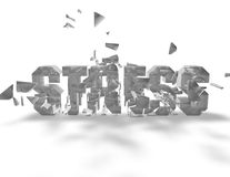 Stress concept with stress shattered text  on white Stock Photos