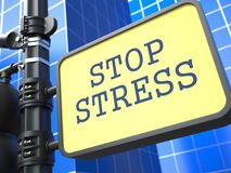Stress Concept. Waymark on Blue Background Royalty Free Stock Image