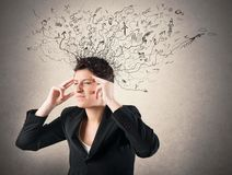 Stress and confusion. Concept of stress and confusion of a businesswoman Royalty Free Stock Photos