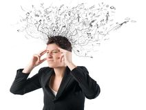 Stress and confusion. Concept of stress and confusion of a businesswoman Stock Photos