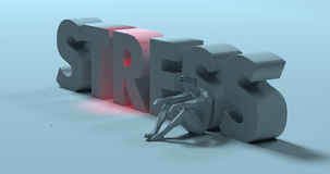 Stress - 3d render text sign, near sad exhausted man, illustrati Stock Images
