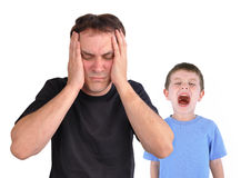 Stress Dad and Screaming Upset Boy Royalty Free Stock Photography