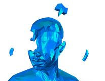 Stress and depression concept with shattered human geometrical face. Stock Images