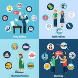 Stress depression 4 flat icons square Royalty Free Stock Images