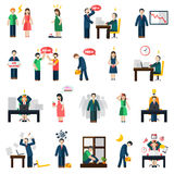 Stress depression mental health icons set Royalty Free Stock Photo