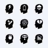 Stress and depression vector icon set Stock Photography