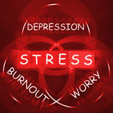 Stress Depression Worry and Anxiety Displays Burnout. Stress Depression Worry and Anxiety Displaying Burnout vector illustration