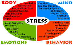 Stress diagram. With impact on body, mind, behavior and emotions Royalty Free Stock Photos