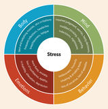 Stress diagram. The impact of stress on mind, behavior, emotions and body Stock Photography