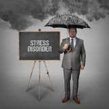 Stress disorder text on blackboard with businessman Royalty Free Stock Photography