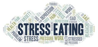 Stress Eating word cloud. Wordcloud made with text only royalty free illustration